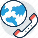 global receiver, globe, help, phone, talk icon