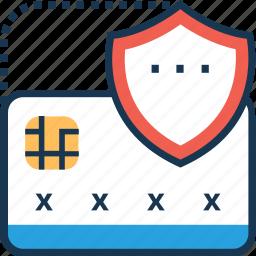 banking, debit card, plastic money, security, shield icon