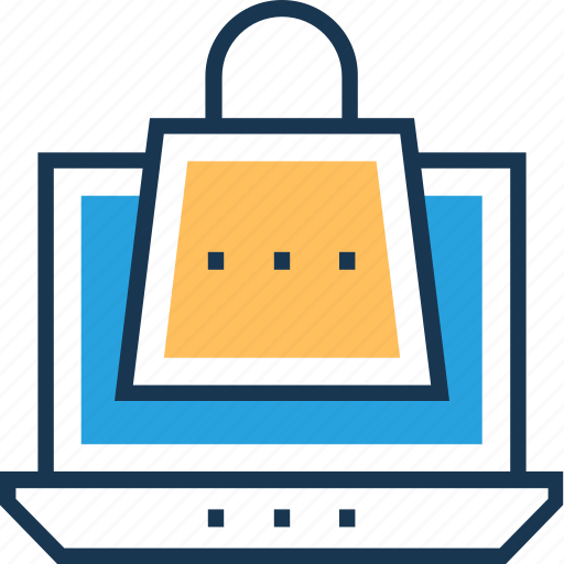 bag, commerce, laptop, shopping, tote bag icon