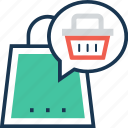 basket, bubble, chat, online shopping, shopping icon