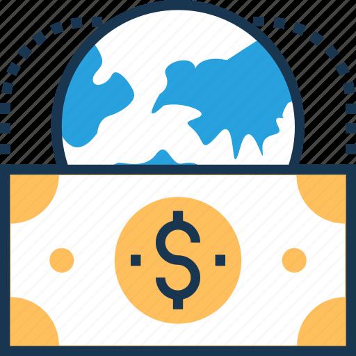 banknote, business, dollar, paper money, worldwide icon