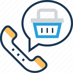 basket, chat, help, phone, receiver icon