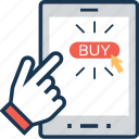 app, buy online, hand gesture, online shopping, shopping icon