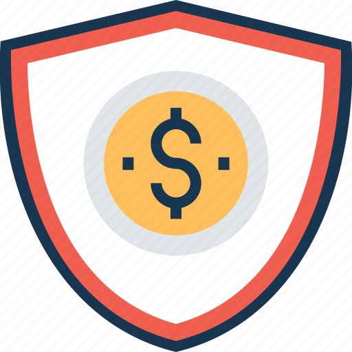 business shield, dollar, finance, privacy, security shield icon