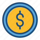 change, coin, commerce, dollar, loose change, money, shopping icon