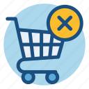 cancel, cart, commerce, grocery, shopping, shopping cart icon