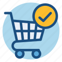 cart, commerce, confirmation, grocery, shopping, shopping cart icon
