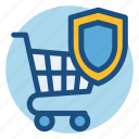 cart, commerce, grocery, shield, shopping, shopping cart icon