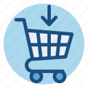 cart, commerce, download, grocery, shopping, shopping cart icon