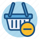 basket, commerce, decrease, delete, shopping, shopping basket icon