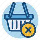 basket, cancel, commerce, delete, shopping, shopping basket icon
