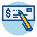 check, commerce, payment, payment check, pen, shopping, sign icon