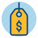 commerce, dollar, label, price, price tag, shopping, tag icon