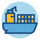 cargo, cargo ship, commerce, freighter, ship, shopping icon