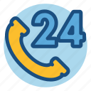 24 hours, commerce, customer service, customer support, phone, shopping icon