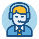 commerce, customer service, customer support, male, man, shopping icon