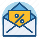 commerce, coupon, envelope, mail, sale, shopping, ticket icon