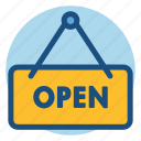 commerce, open, open sign, shopping, sign icon