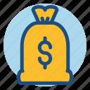 bank, commerce, dollar, money, money bag, shopping icon