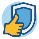 commerce, hand, protection, safe, safety, shield, shopping icon