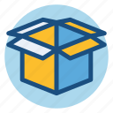 box, commerce, open box, package, shopping icon