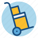 boxes, commerce, delivery, package, shopping, trolley icon