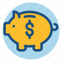 commerce, money, piggy bank, save money, shopping icon