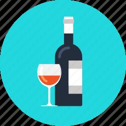 alcohol, beverage, bottle, celebration, consumerism, drink, glass, restaurant, shopping, wine icon