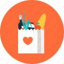 bag, business, buy, commerce, consumerism, drink, food, heart, love, retail, shopping icon