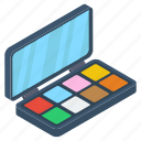 beauty concept, cosmetics, eye shadow, makeup kit, makeup palette icon