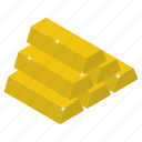 asset, capital, gold, gold bar, gold stak icon
