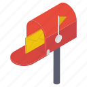 email communication, letter post, letterbox, mailbox, residential mailbox icon