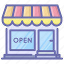 boutique, market, shop, shop open, store, supermarket icon