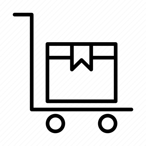 box, delivery, dolly, parcel, trolley icon