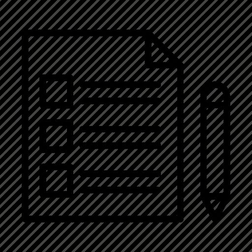 checkbox, document, edit, file, sheet icon