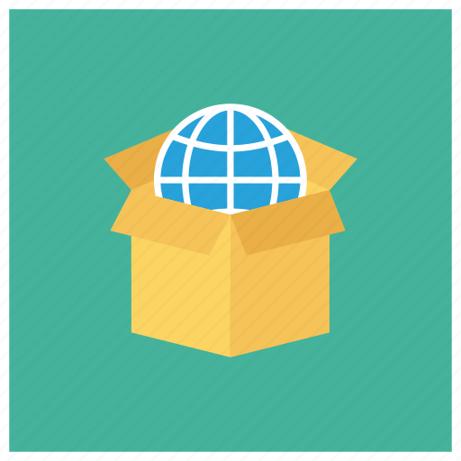 box, delivery, global, globe, package, packagingcompany, world icon
