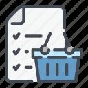 basket, list, plan, shop, shopping icon