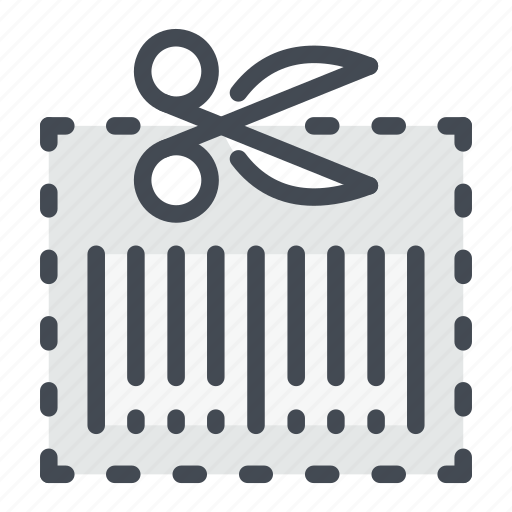 barcode, coupon, cut, discount, scan, scissors, shopping icon