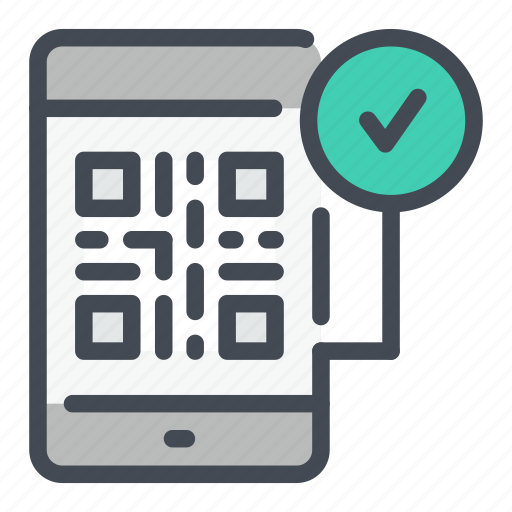 check, code, mobile, phone, qr, scan, tick icon