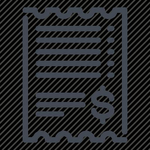 bill, dollar, invoice, receipt icon