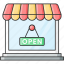 board, label, market, open, outlet, shop, store icon