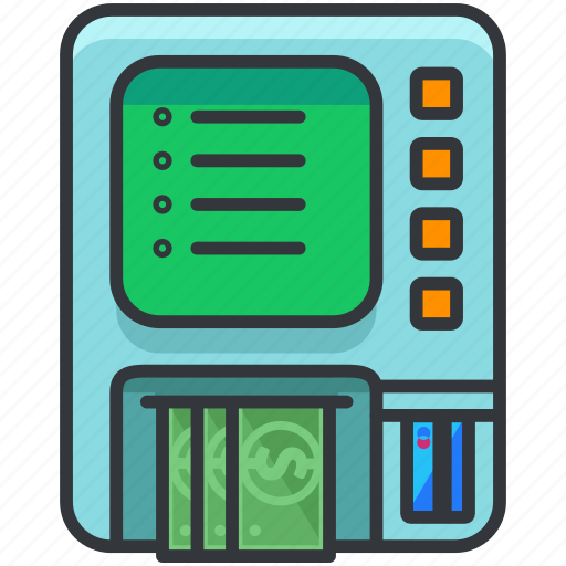 cash, ecommerce, finance, machine, money, shopping icon