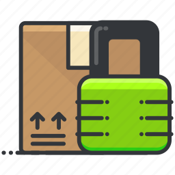 box, ecommerce, finance, lock, package, shopping icon
