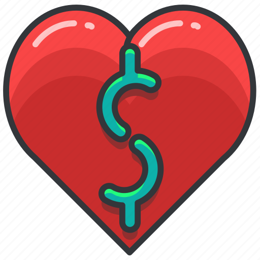 ecommerce, finance, heart, love, money, shopping icon