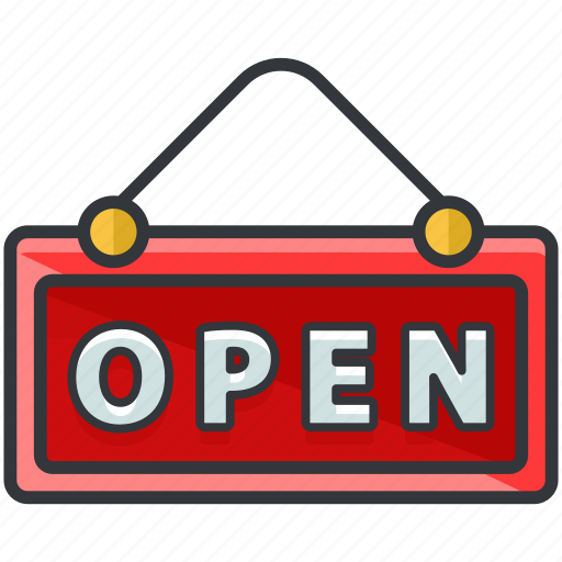 ecommerce, finance, open, shop, shopping, sign icon