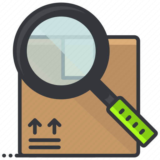 box, ecommerce, finance, magnifier, search, shopping icon