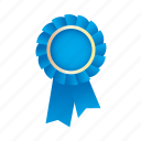 award, badge, blue, medal, prize, ribbon icon