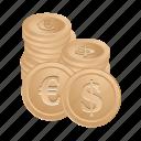 money, banking, coin, dollar, euro, financial