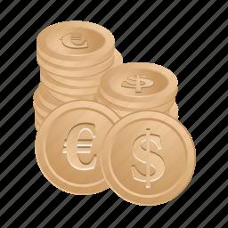 banking, coin, dollar, euro, financial, money icon