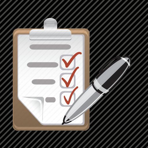 ecommerce, list, paper, pen, shop icon